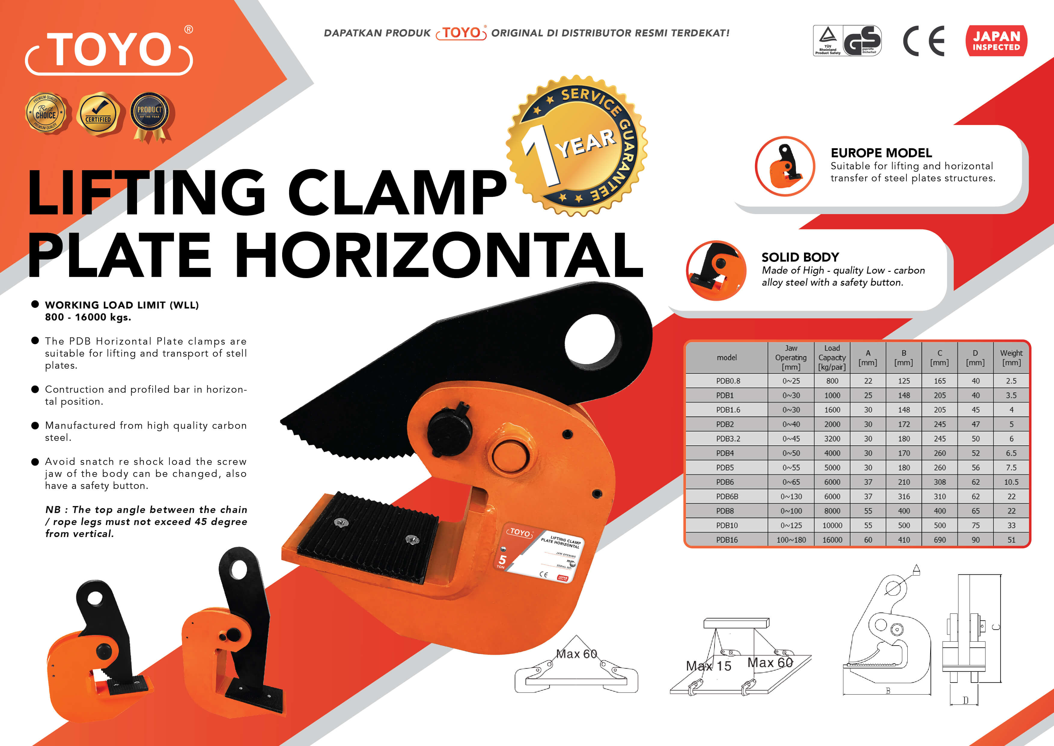 Spesifikasi Detail Lifting Clamp Plate Horizontal Toyo Original