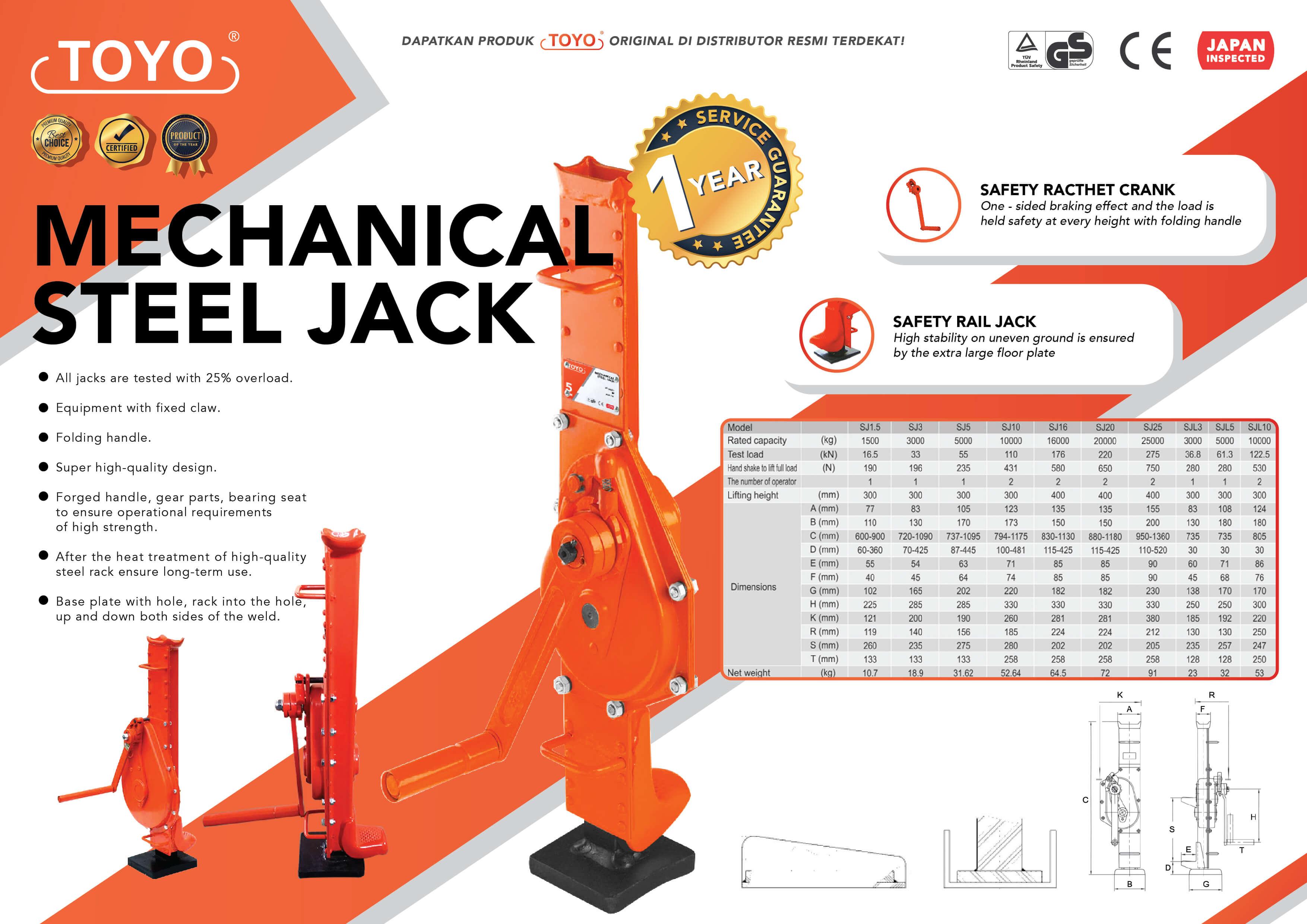 Spesifikasi Detail Mechanical Steel Jack Toyo Original