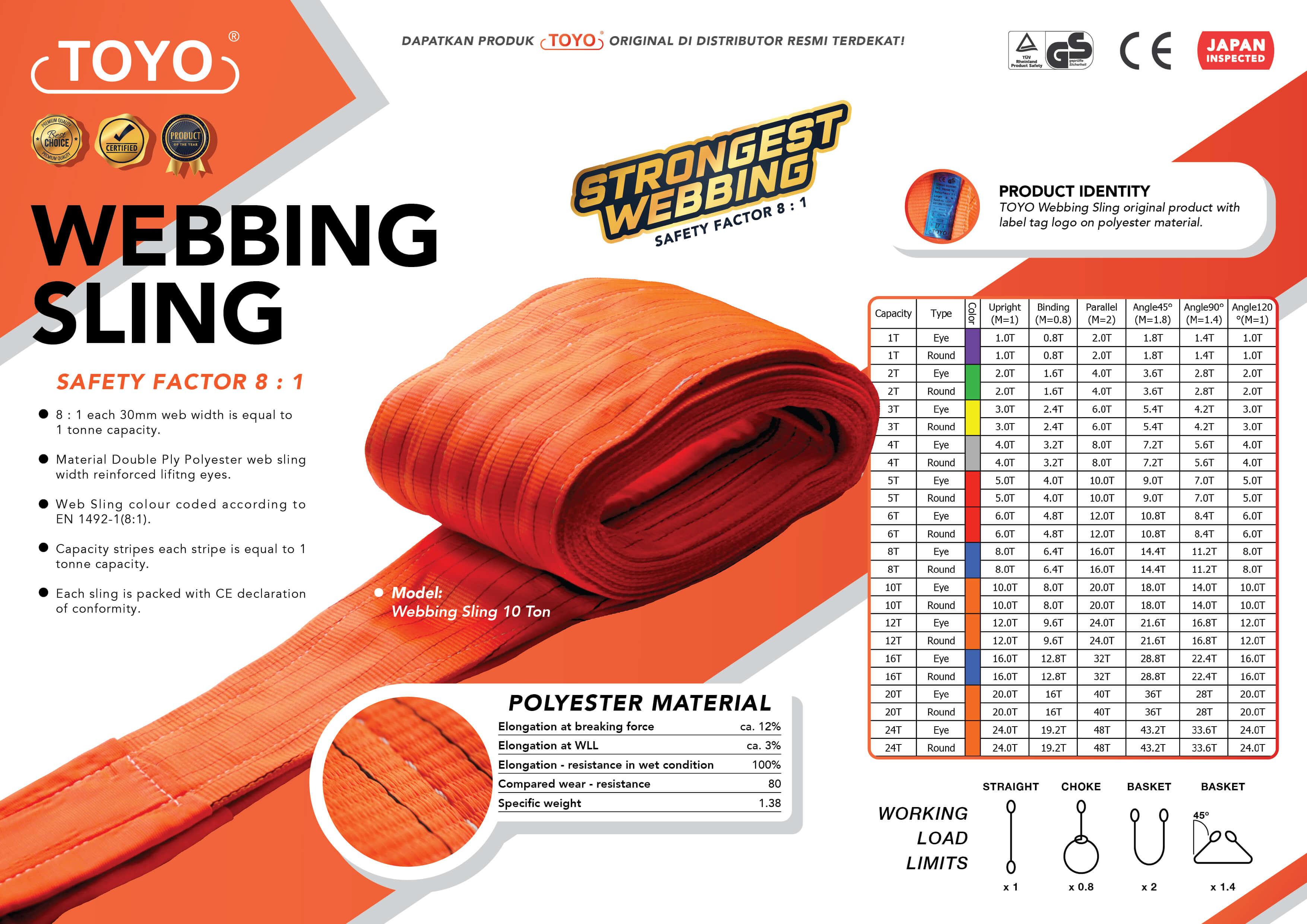 Spesifikasi Detail Webbing Sling Toyo Original