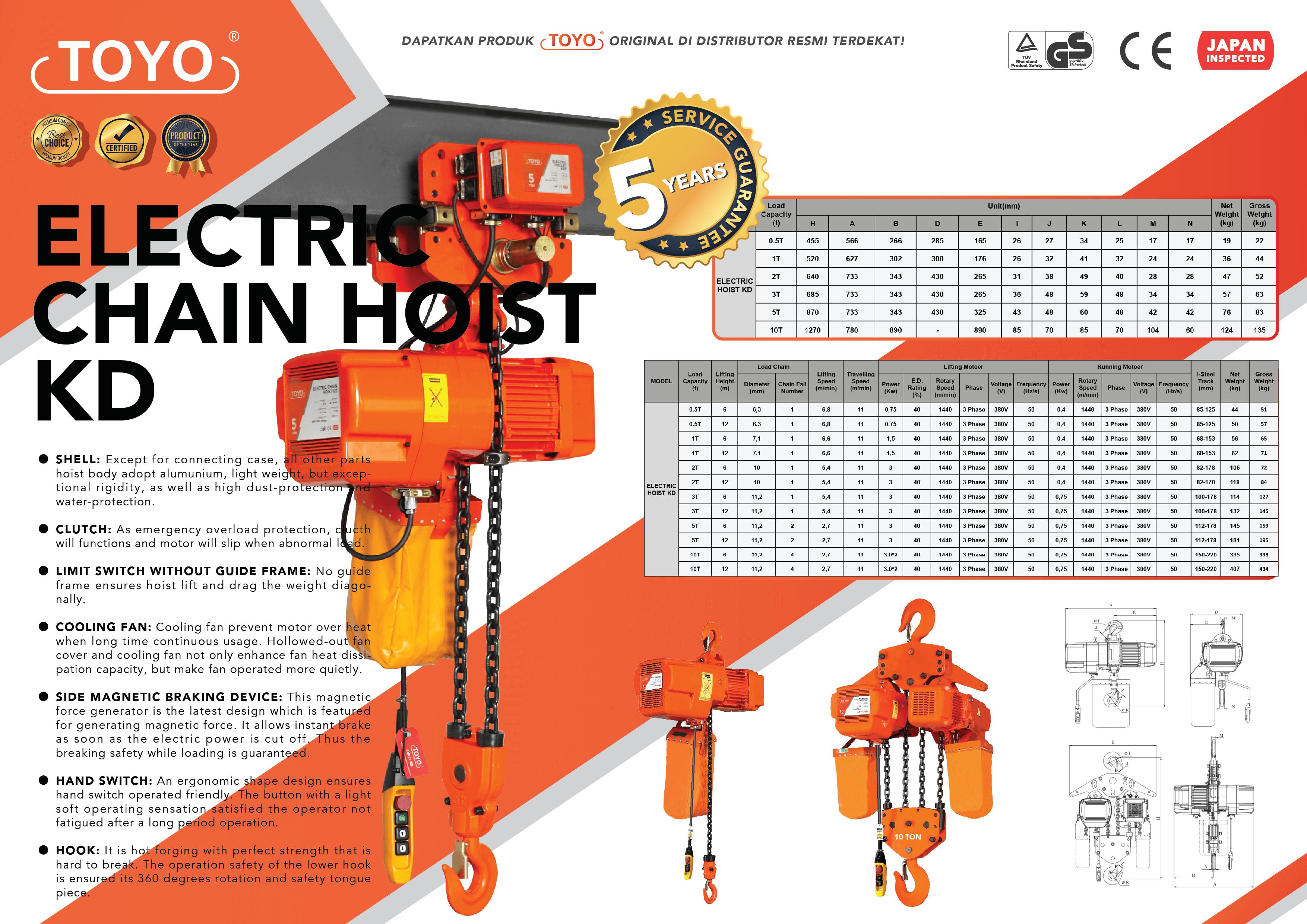 Spesifikasi Detail Electric Chain Hoist KD Series Toyo Original