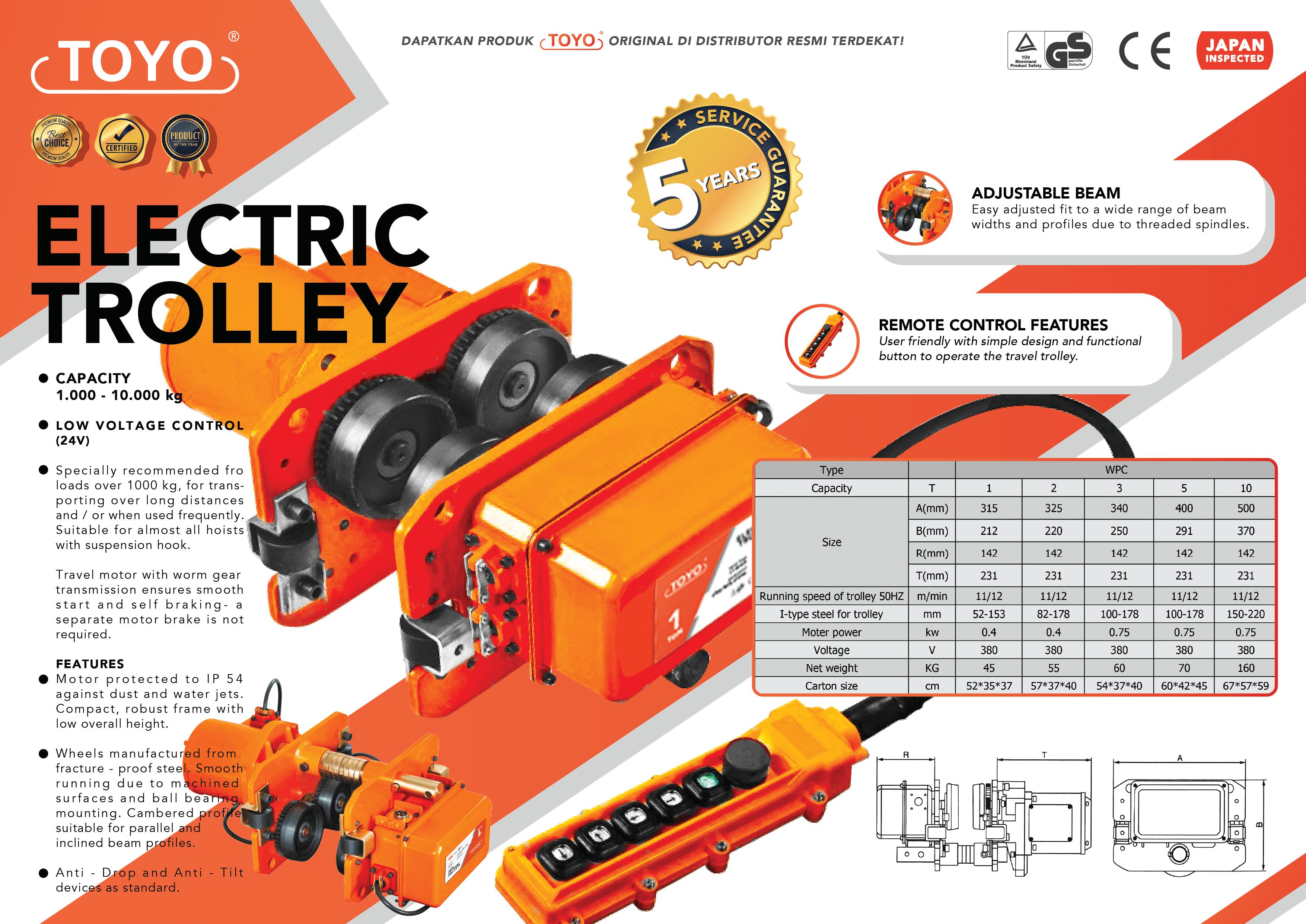 Spesifikasi Detail Electric Trolley Toyo Original