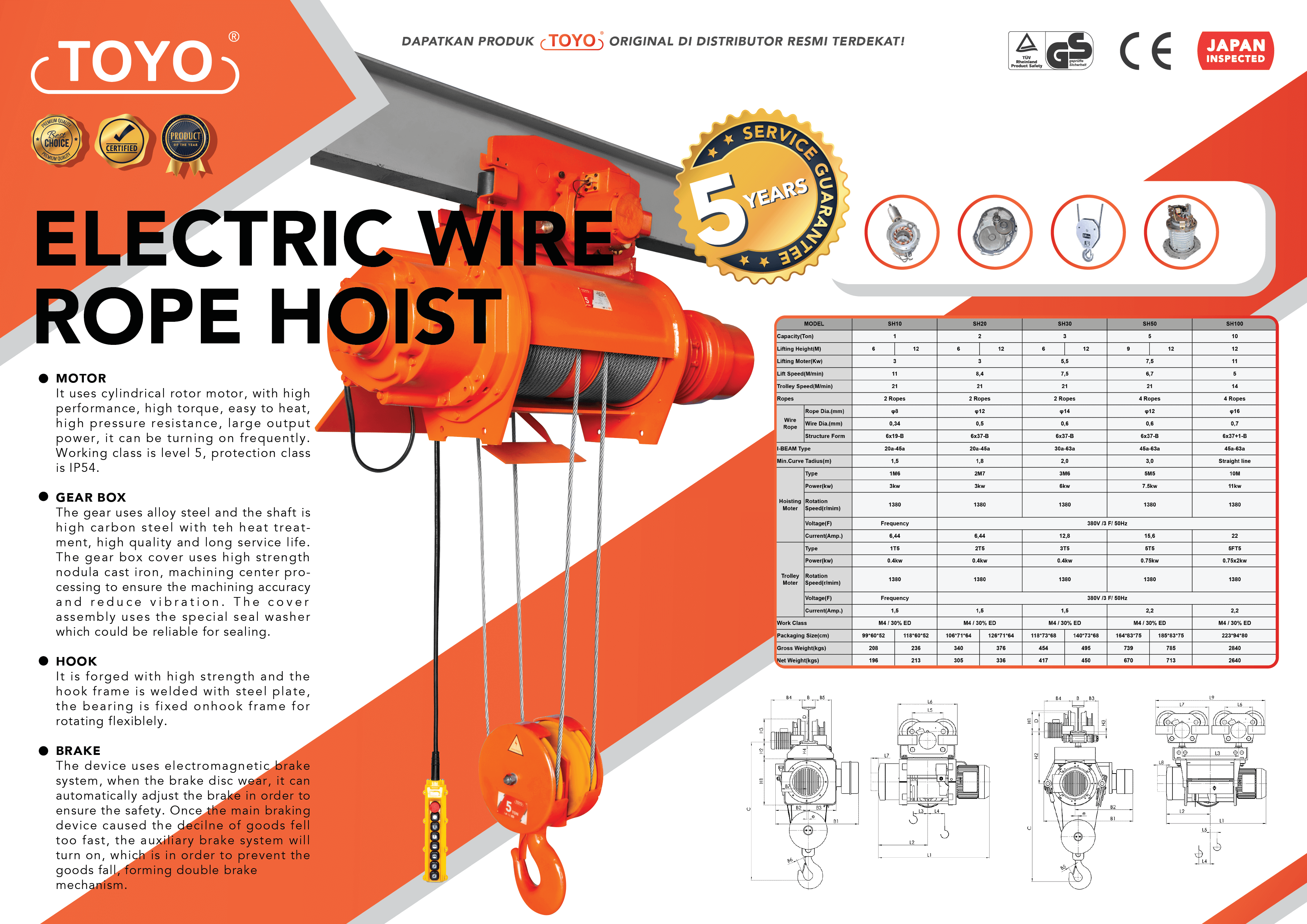 Spesifikasi Detail Electric Wire Rope Hoist Toyo Original
